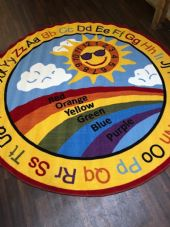 SUN RAINBOW CHILDREN 200X200CM CIRCLE RUGS MATS HOME SCHOOL EDUCATION NURSERY